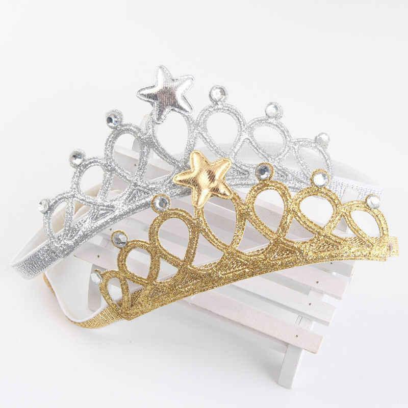 Diadema elástica para niños y niñas con lazo de Estrella de plata dorada diadema para infantes Tiara Princesa para cumpleaños de Chidlren