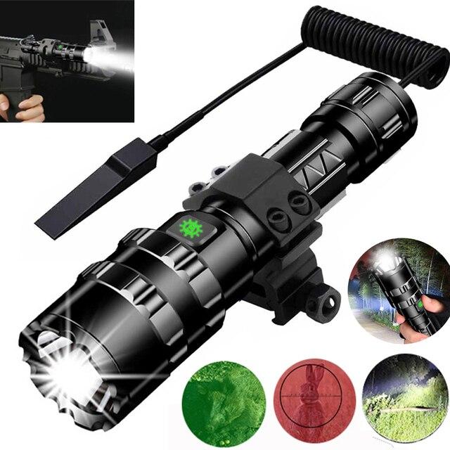 Linterna LED de luz blanca/roja, táctica, potente lámpara recargable, luz de caza L2, 5 modos, con miras de caza