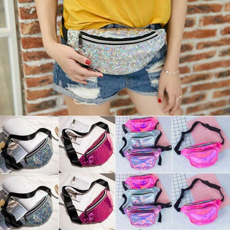 1PC Sequins Waist Bags Women Belt Bags Fanny Packs Bum Bag Phone Zipper Waist Pouch
