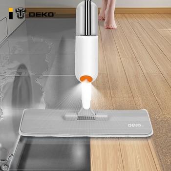 DEKO Hand Spray Mop Floor House Cleaning Tools Mop For Wash Floor Lazy Flat Floor Cleaner Mop With Replacement Microfiber Pads