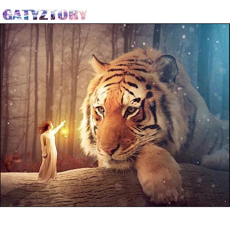 GATYZTORY Diamond Painting tiger 5D Full Square Rhinestone Diamond Embroidery Mosaic Cross Stitch Home Decor thumbnail