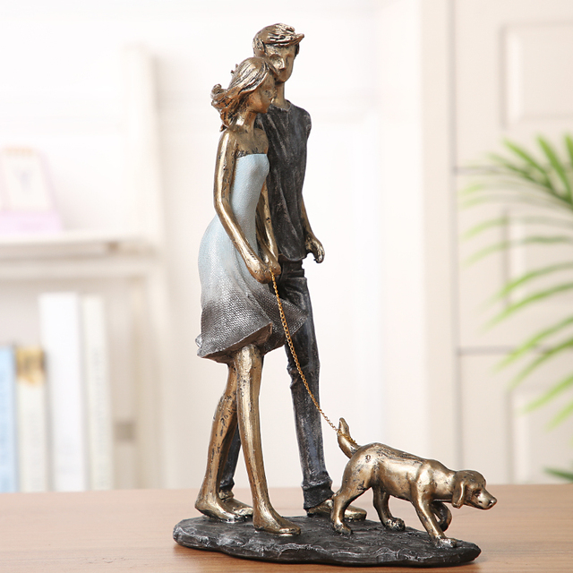 Couple Walking With Dog Handmade Resin Statue 3