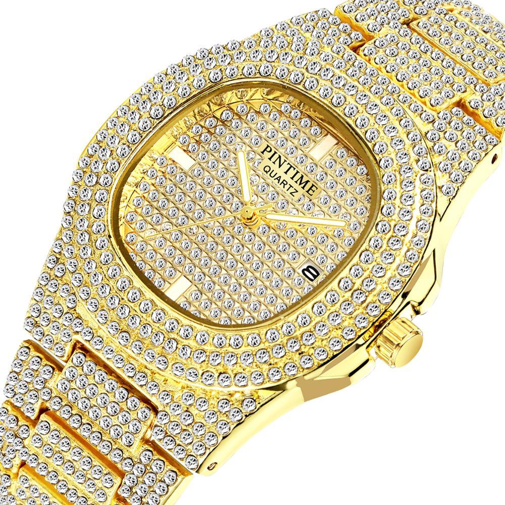 Cool Gold Diamond Watch Men Women Hip Hop Iced Out Watch Men Calendar Quartz Watches Steel Business Wristwatch Relogio Masculino
