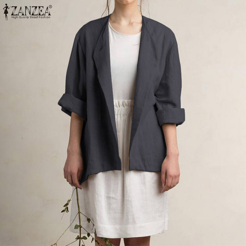 ZANZEA Women's Blazer Casual Turn Down Collar Cotton Solid Blazers Long Sleeve Retro Coats Jackets Outwear Blazer Feminino 5XL