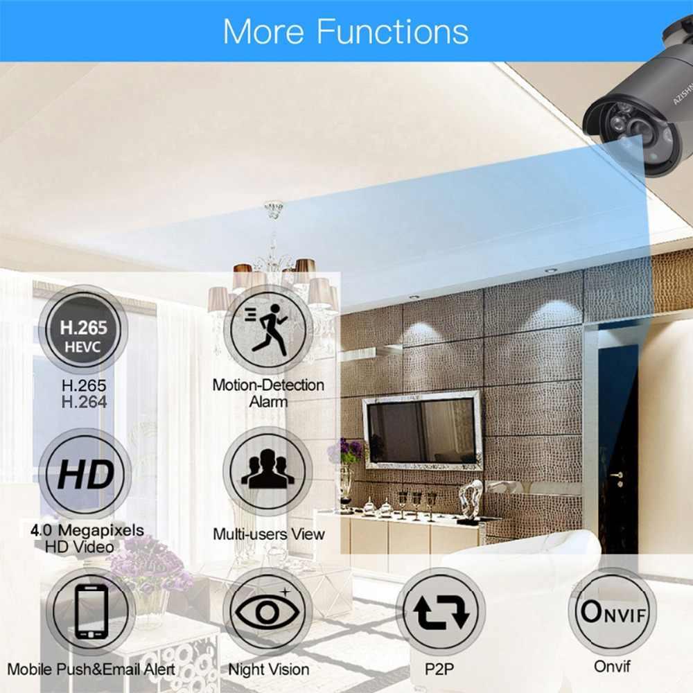 AZISHN H.265 4MP אודיו POE IP מצלמה 2560*1440 עמיד למים חיצוני וידאו אבטחת CCTV מעקב ONVIF עבור POE NVR מערכת