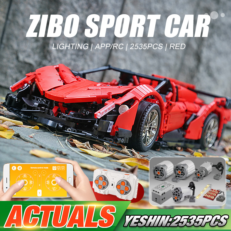 Yeshin 20091 Technic Motor Car The MOC-10559 Veneno Roadster Car Motor Function Cars Building Blocks Bricks Kids Christmas Toys