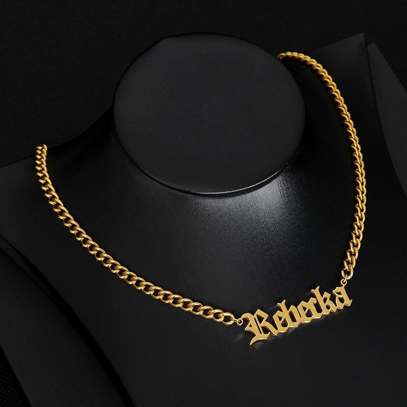 De Oro de acero inoxidable cadena collar joyas personalizadas nombre personalizado Collar para las mujeres viejo nombre inglés gargantillas Maxi Colar