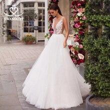 SWANSKIRT Licht Appliques Spitze Hochzeit Kleid 2020 V ausschnitt Sleeveless A Line Prinzessin Backless Brautkleid Vestido de novia I230