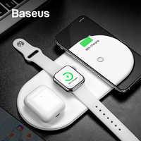 Cargador inalámbrico Baseus para iPhone X XS MAX XR 8 carga completa inalámbrica rápida 3 en 1 almohadilla de carga para Airpods 2019 Apple Watch 4 3 2