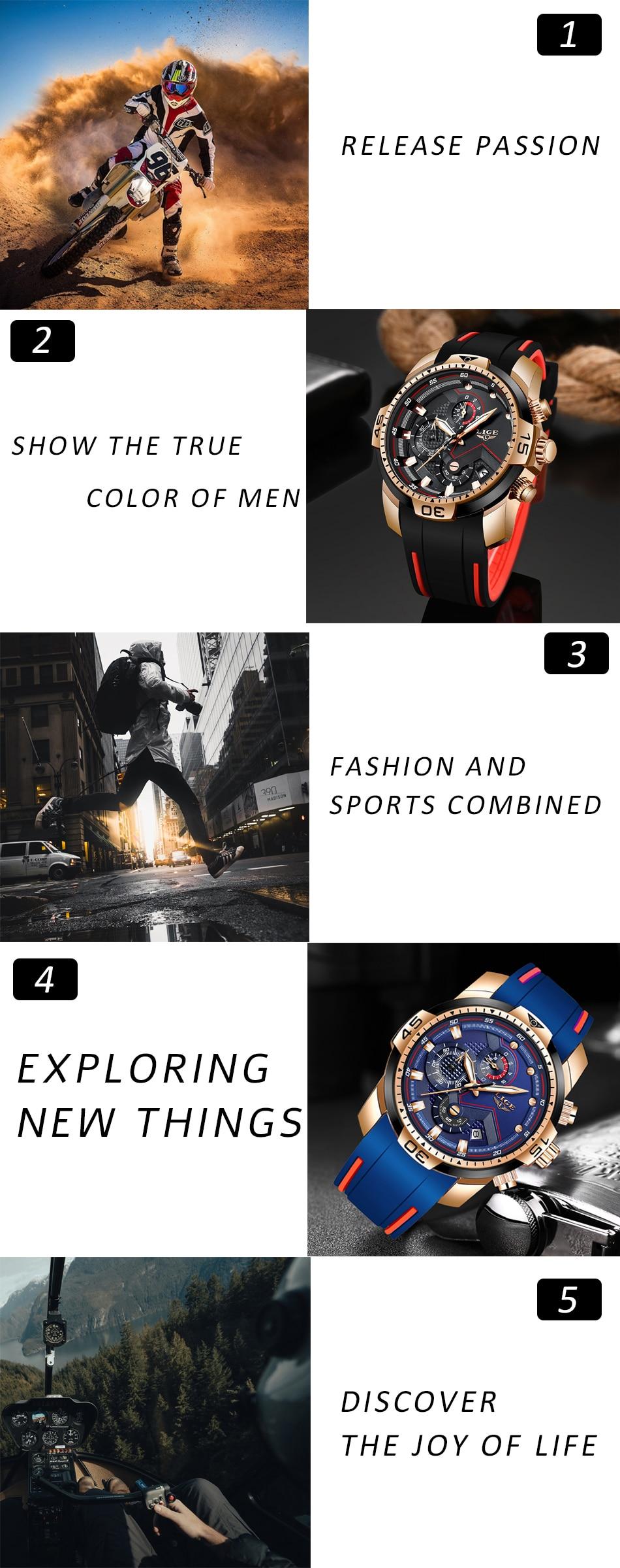 H0975281d139d4aa19e441ee3e369b916S 2020 LIGE Sport Watch Men Brand Luxury Chronograph Silicone Strap Quartz Mens Watches Waterproof Clock Relogio Masculino+Box