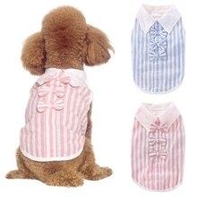 Small Cat Pet Dog Clothes Fashion Striped Shirt Dress Bowknot Decorative Costume