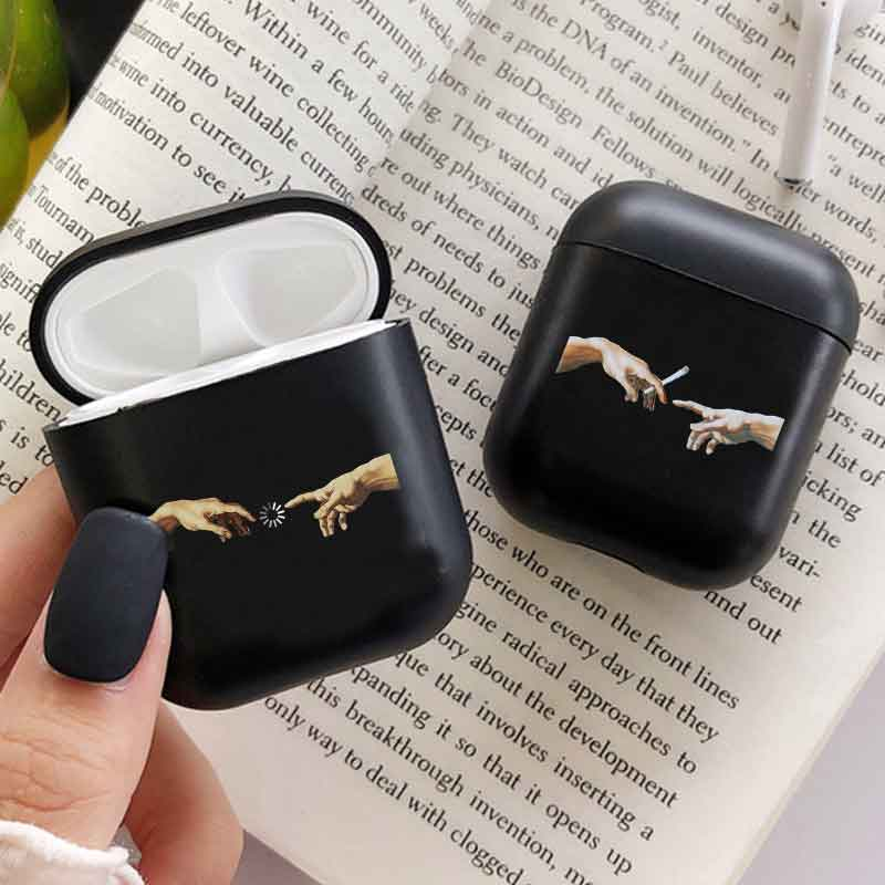 Candy Earphone Case For Airpods 1 2 Case Mona Lisa Art David Lines Painted Pattern Hard Case Coque Fundas For Airpods Case Cover