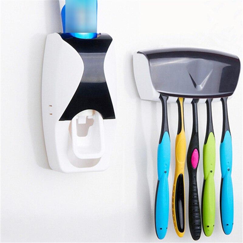 Bad Gadgets Automatische Zahnpasta Spender + 5 stücke Zahnbürste Halter Set Wand Halterung Rack Bad Oral Bad Zubehör