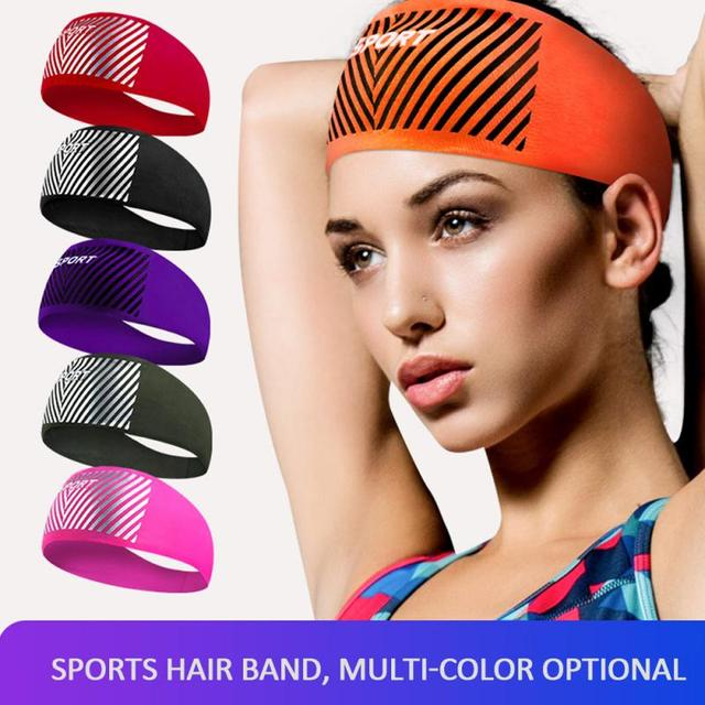 Breathable Sports Fitness Antiperspirant Belt Mens Elastic Headband Wide Sweatband Stretch Sweat Sport Yoga Run Solid Hairband
