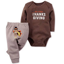 Thanksgiving Toddler Autumn Turkey Clothes 2Pcs Set Kids Infant Baby Boy Girl Romper Bodysuit +Pants Party Costumes Clothing Set(China)