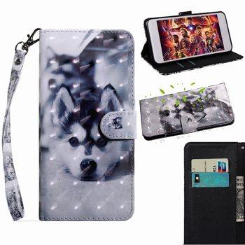 Funda de teléfono pintada de encaje de Panda de flores para cartera iPhone 6 6S Plus 7 8 Plus 7P 8 P Funda de cuero de lobo funda bonita de Animal O29G