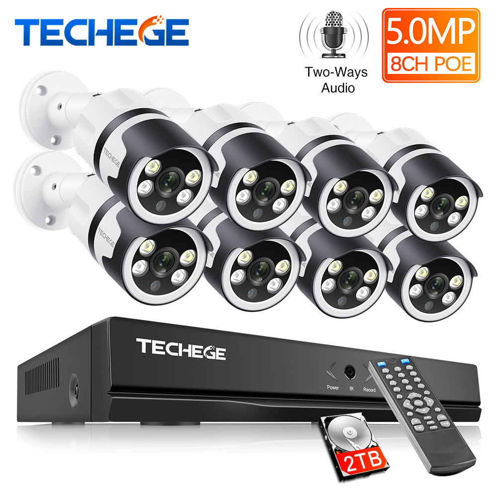 Techege Ai Smart 5MP H.265 System 8CH POE CCTV Security NVR Kit Two Way Audio Outdoor Waterproof IP Camera Surveillance System