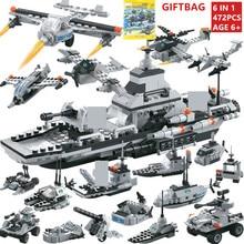 472Pcs Military Warship DIY Bricks NAVY Pacific Fleet ARMY Bomber Soldiers Building Blocks Sets LegoINGLs Toys Christmas Gifts