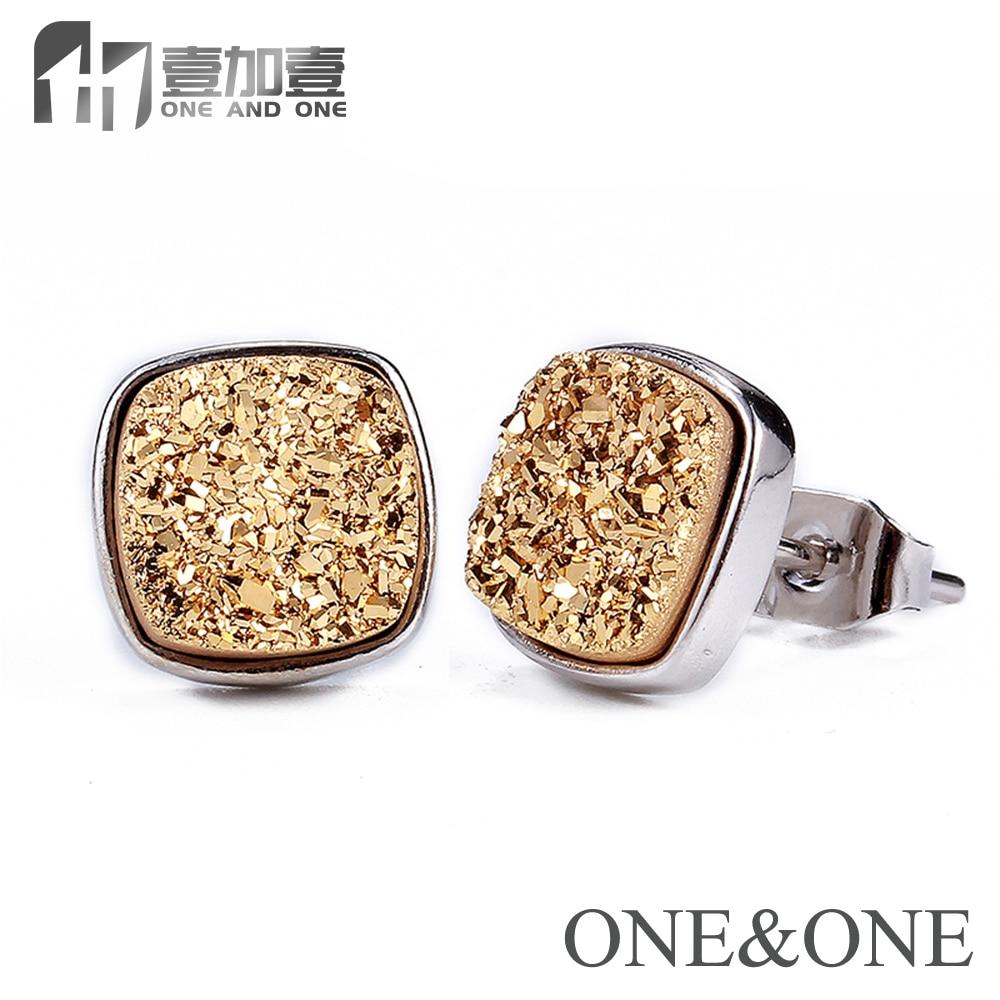 Venta al por mayor Square 8 * 8mm Druzy studs Earring 13 aretes de cobre de color con piedra drusy aretes de moda hechos a mano para regalo de pareja