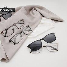 X105 Bauhaus, магнитные солнцезащитные очки с зажимом, металлическая оптическая оправа, Мужские поляризационные, по рецепту, при близорукости