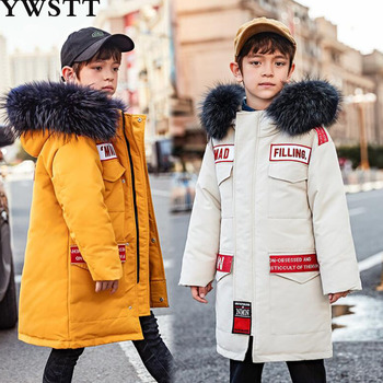 Kids Real Fur Down Jacket Windproof Waterproof Boys Thicken Keep Warm Cold Protection Hardy Comfortable Long Hooded Outerwear
