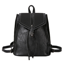 British retro backpack women 2020 Pu leather fashion wild personality backpack college style campus student bag