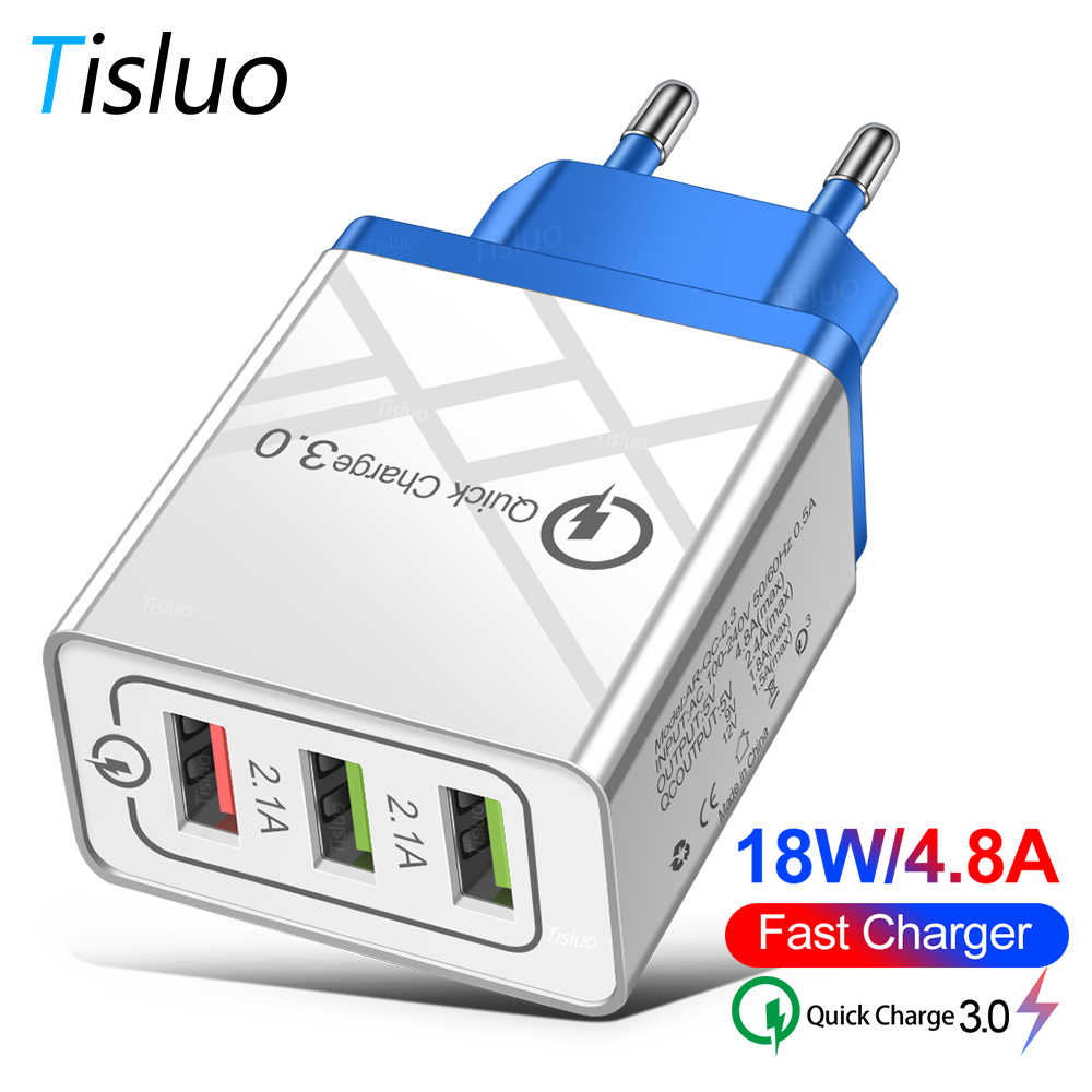 24W Quick Charge 3.0 Usb Charger Cepat QC3.0 untuk iPhone X 7 Xiaomi Huwei P10 Samsung A50 Tablet dinding Charger Plug Adapte