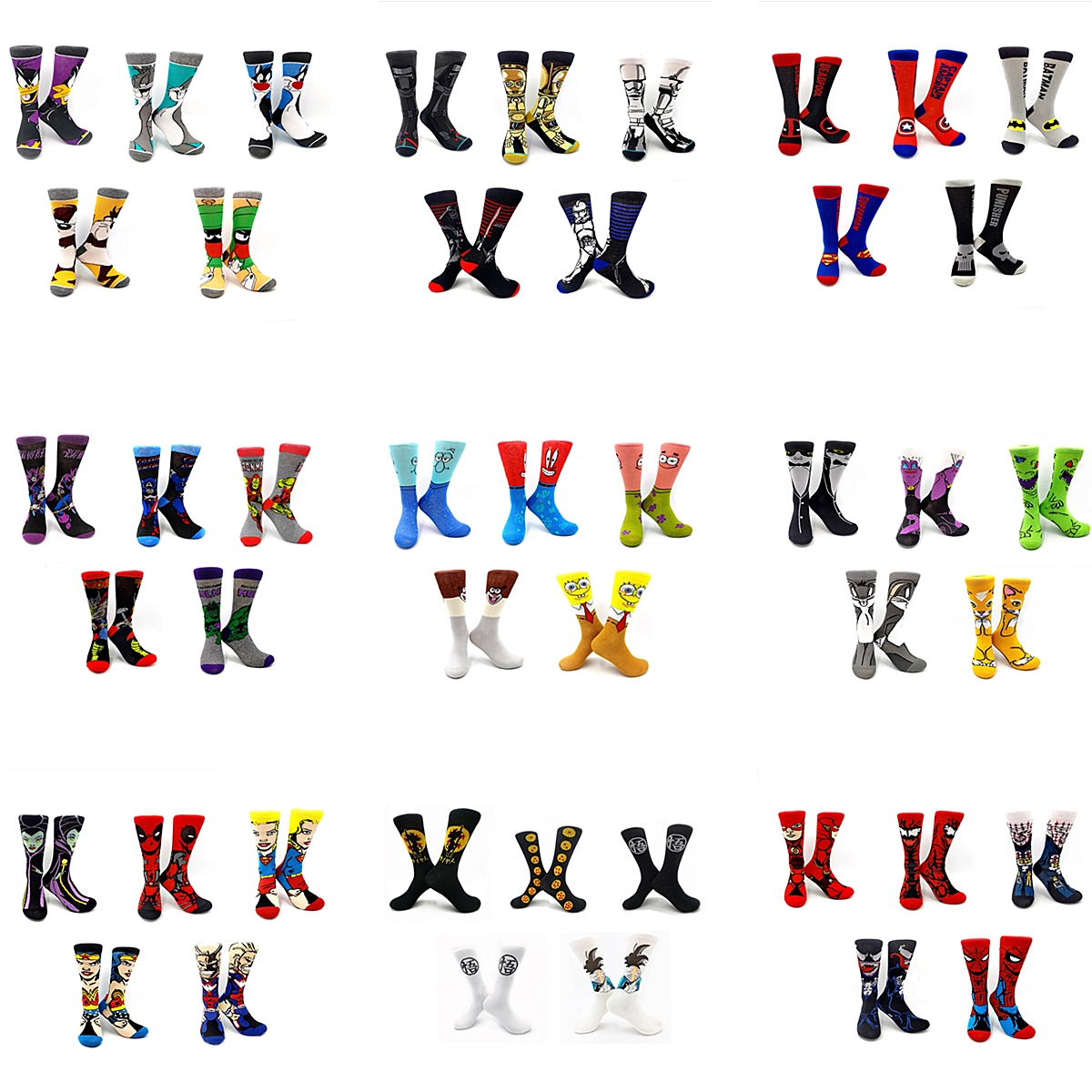 5 Pairs Creative Fashion Men Crew Socks Funny Anime Star Wars Avengers Deadpool Dragon Ball Sponge Baby Men Socks Men Gift Socks