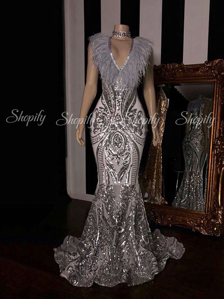 Long Silver Prom Dresses 2020 Sexy Mermaid Style Sparkly Sequin African Black Girl Feather Nigeria Prom Dress