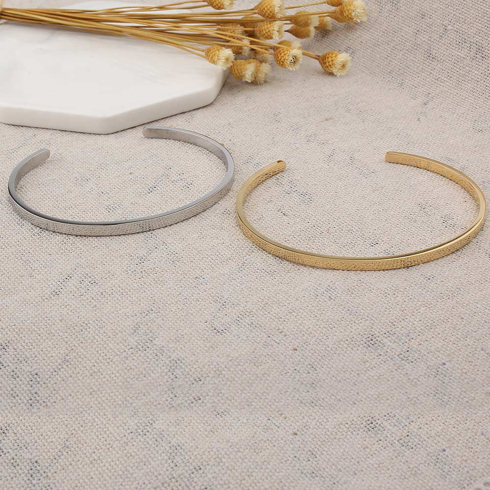 2018 New FINE4U B017 316L Stainless Steel Cuff Bangle & Bracelet Gold/Steel Color Open Bangle Bracelet For Men Women Unisex Gift