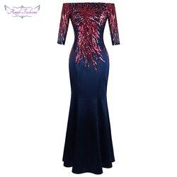 Angel-fashions вечернее платье с открытыми плечами и рукавом средней длины, Длинное Элегантное свадебное платье для мамы 456