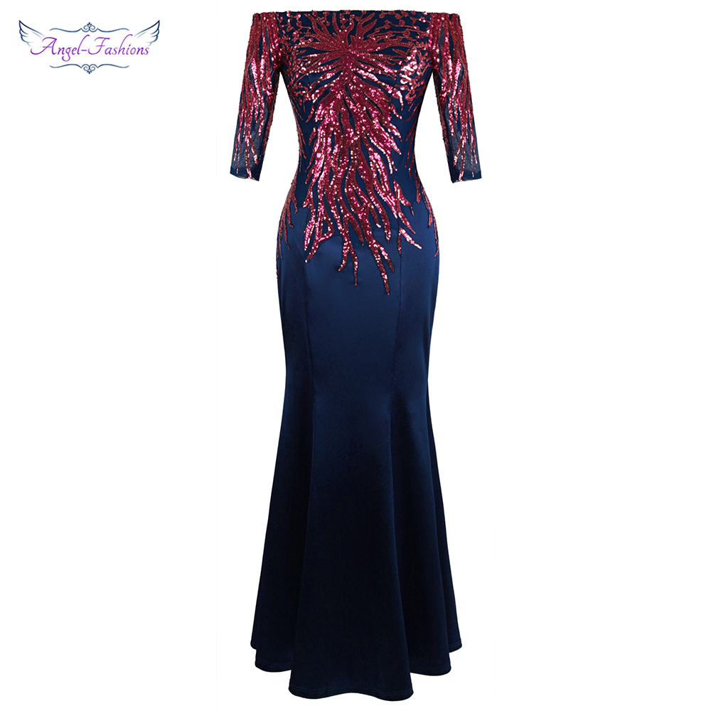 Angel-fashions Off Shoulder Half Sleeve Sequin Evening Dress Long Elegant Wedding Party Gown Mother Dress 456