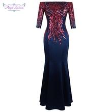 Angel fashions Off Shoulder Half Sleeve Sequin Evening Dress Long Elegant Wedding Party Gown Mother Dress 456