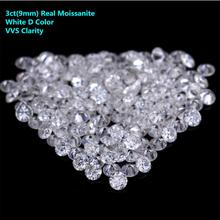 3ct(9mm) Moissanite Loose Stone White D Color VVS Moissanites Beads Diamond DIY Raw Material Hearts And Arrow Drop Shipping