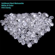 3ct(9ミリメートル) モアッサナイトルースストーンホワイトdカラーvvs moissanitesビーズダイヤモンドdiyの原料とアロードロップ無料