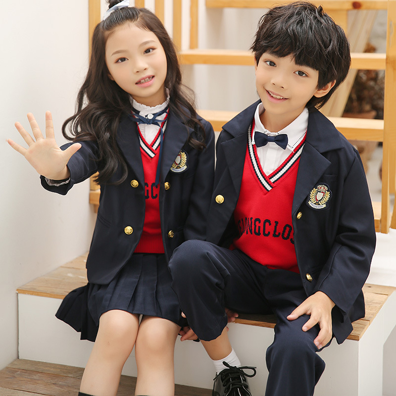 Young STUDENT'S School Uniform Spring And Autumn New Style England College Style Children Suit Kindergarten Suit