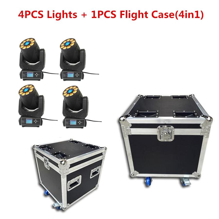 4pcs/lot 90W LED Moving Head With Flight Case 90W+9x18W RGBWA UV 6IN1 DJ Gobo Light 3 Face Prism DMX14 Channel Stage Disco DJ