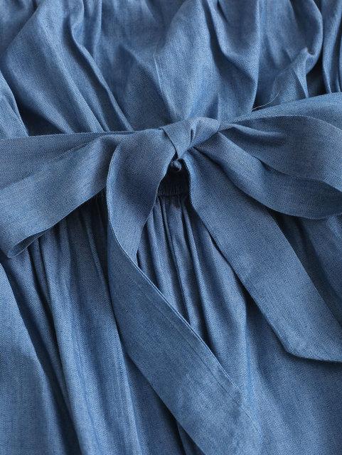 ZAFUL Chambray Belted Tube Jumpsuit Women Strapless Sleeveless Solid Cotton Straight Office Pants Wide Leg Pants Long Bottom 2
