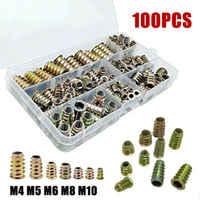 100 pcs/Set M4 M5 M6 M8 M10 Gewinde Hex Drive Treiber Holz Schraube Einsätze Muttern Kit Über- stick Der Einsatz