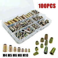100 pièces/ensemble M4 M5 M6 M8 M10 vis à tête hexagonale filetée vis à bois insère écrous Kit sur-entraînement de l'insert
