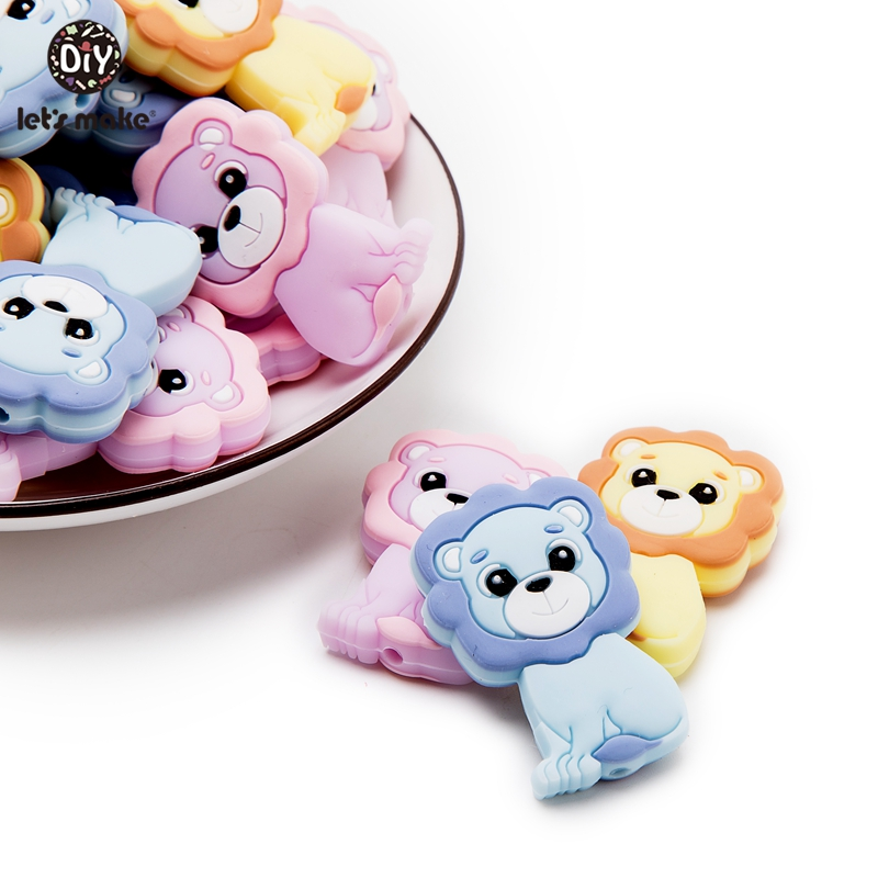 Let's Make 5pc Baby Silicone Teether Beads Cartoon Lion Teething Toys Baby Diy Accessories Shower Gifts Baby Teether