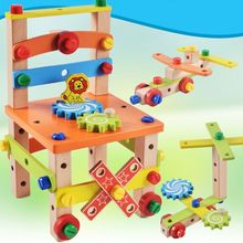Kids Puzzle Assembled Wooden Blocks Multi-functional Disassembly Tool Toy XX9E