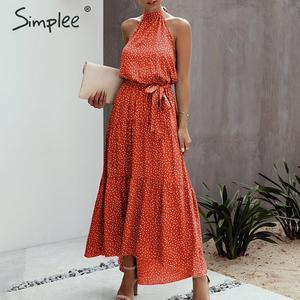 Image 4 - Simplee 섹시한 폴카 도트 여성 드레스 플러스 사이즈 민소매 높은 허리 벨트 맥시 boho 드레스 캐주얼 휴가 해변 파티 여름 드레스