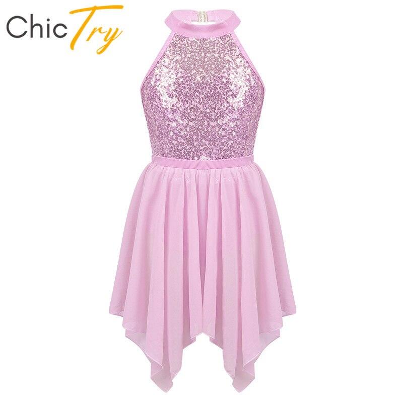 ChicTry Kids Sequins Gymnastics Leotard With Chiffon Ballet Skirt Dancewear Set Lyrical Dance Costume Girls Figure Skating Dress