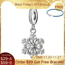 ATHENAIE 925 en argent Sterling pavé clair CZ congelé flocon de neige pendentif gouttes breloque ajustement Bracelets à breloques européens cadeau pour les femmes