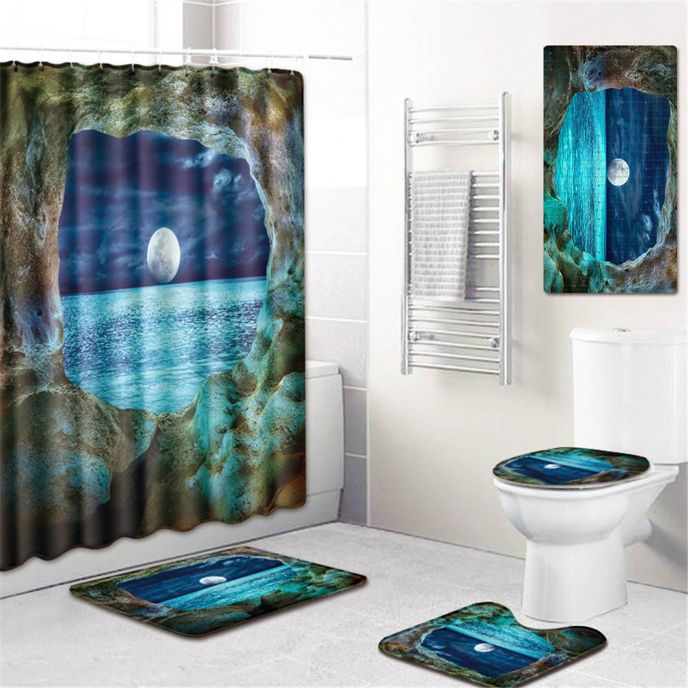 5 шт./компл. 3d Шторки для душа с принтом для ванны водонепроницаемый из полиэстера ткань Противоскользящий коврик для ванной коврик для унитаза - 3