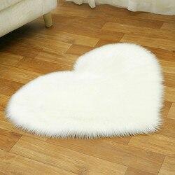 Laine artificielle en peau de mouton bébé chambre doux zone tapis longue poilue Shaggy pas de charpie tapis amour coeur forme fourrure tapis