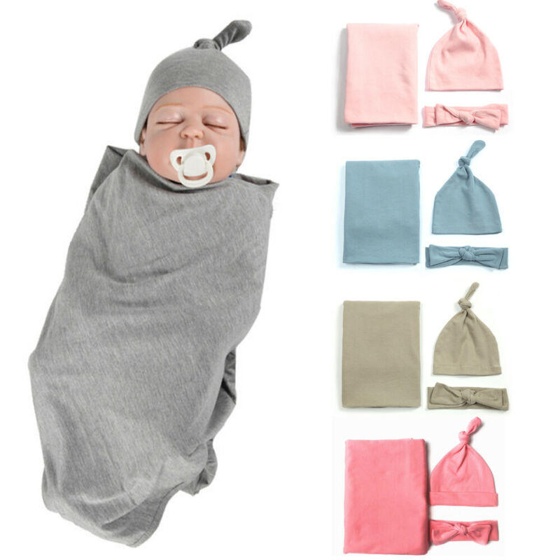 Newborn Baby Girl Boy Solid Color Cotton Swaddle Wrap Blanket Sleeping Bag+Headband +Hat Outfits Set