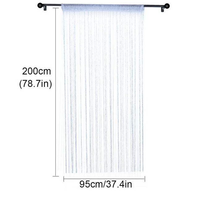 100x200cm Shiny Flash Silver Classic Line Curtain Window Door Divider Sheer Curtain Room Divider Door Decorative 4