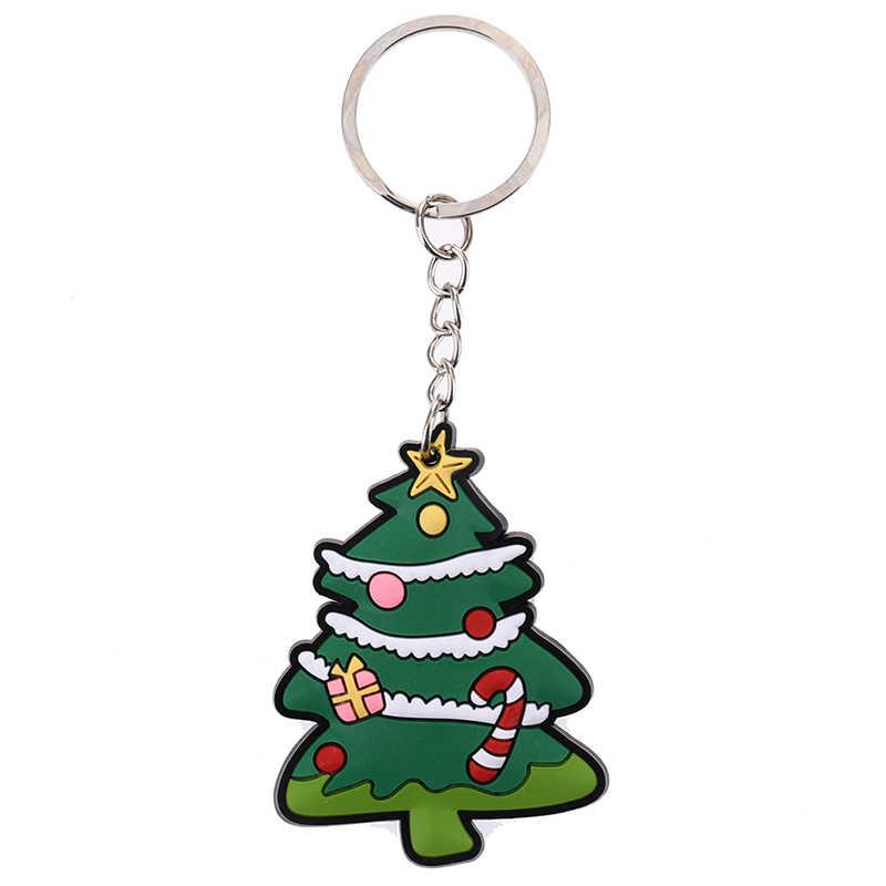 ใหม่ร้อน PVC การ์ตูน Santa Claus/ถุงเท้า/มนุษย์หิมะ/กวางพวงกุญแจคริสต์มาสของขวัญ Keyrings น่ารัก Christmas Tree Charm พวงกุญแจเครื่องประดับ